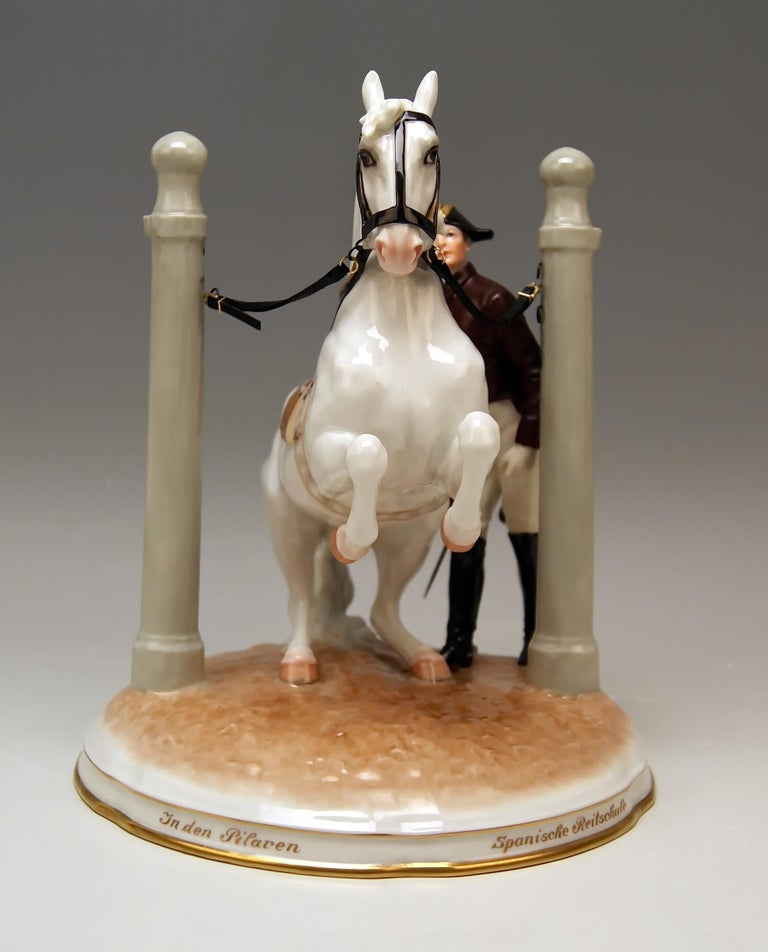 Painted Vienna Augarten Horse in Den Pilaren Spanish Riding School 1596 Doebrich 1927 For Sale
