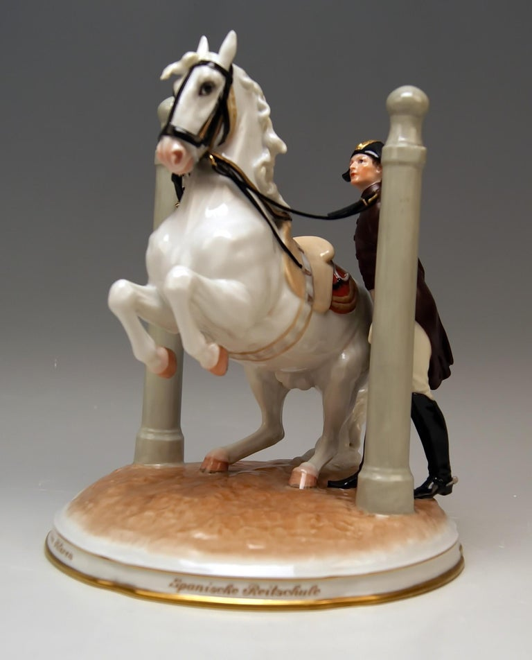 Early 20th Century Vienna Augarten Horse in Den Pilaren Spanish Riding School 1596 Doebrich 1927 For Sale