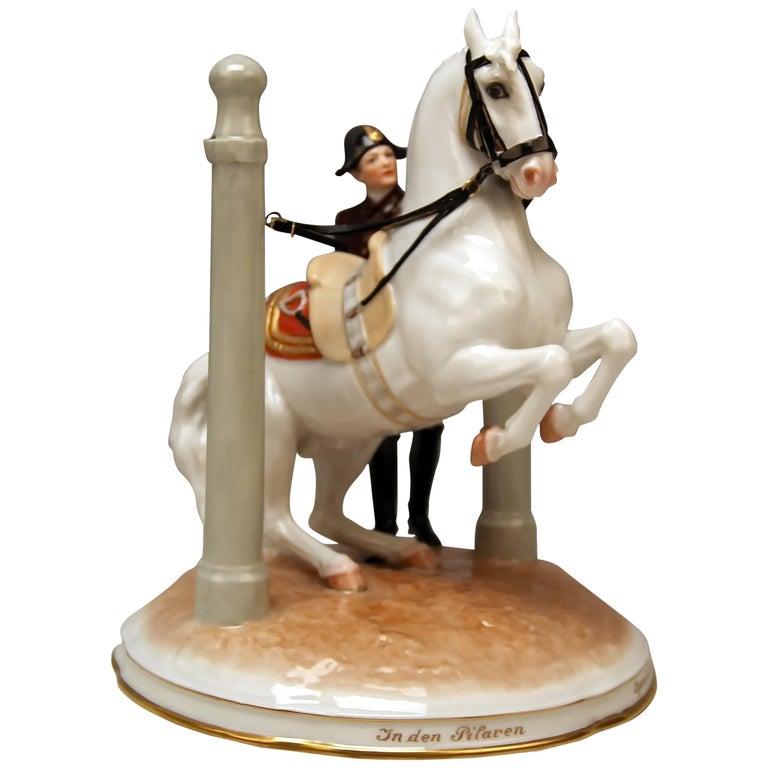 Vienna Augarten Horse in Den Pilaren Spanish Riding School 1596 Doebrich 1927 For Sale
