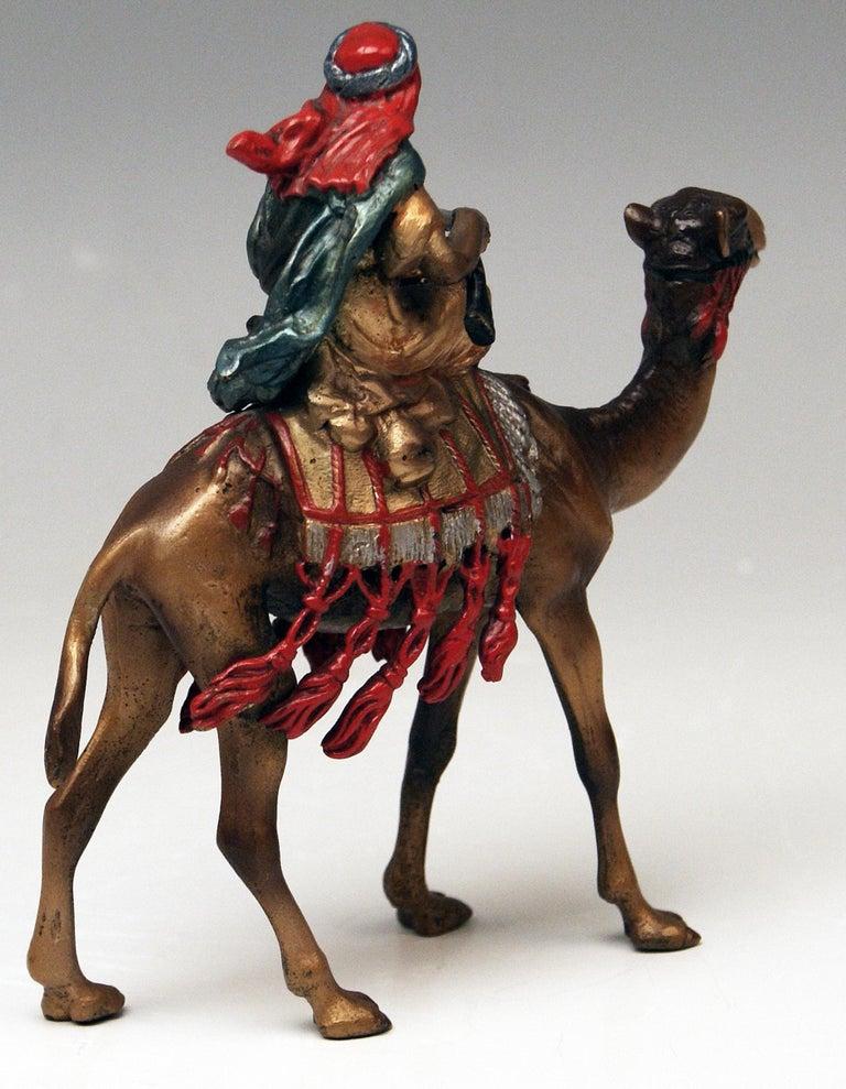 Other Vienna Bergman Bronze Arab Man Riding on Camel Vintage, 1890-1900 For Sale