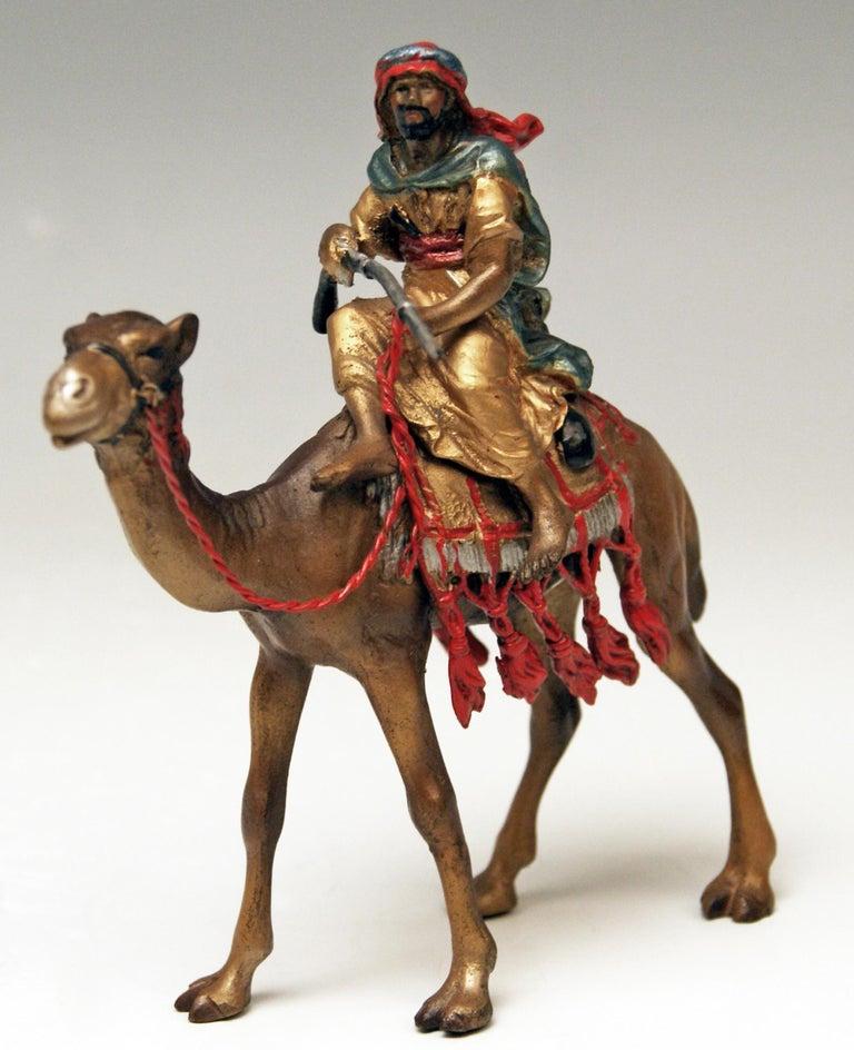 Cold-Painted Vienna Bergman Bronze Arab Man Riding on Camel Vintage, 1890-1900 For Sale
