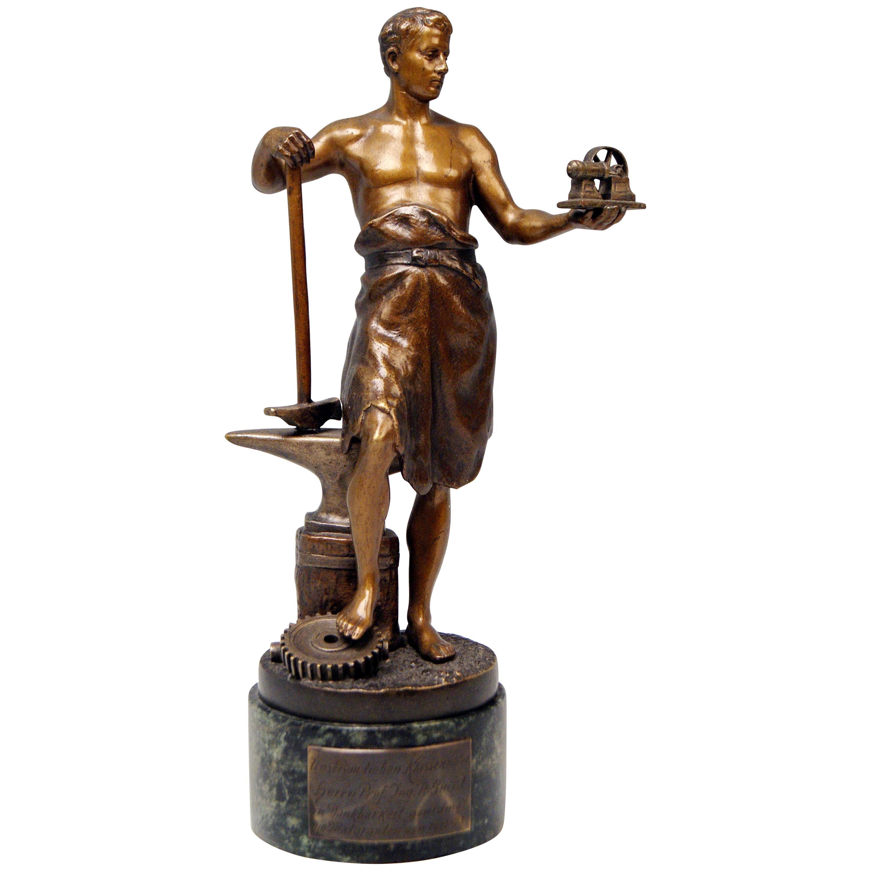 Vienna Bergman Bronze Figurine Smith with Anvil and Gearwheel, circa 1922