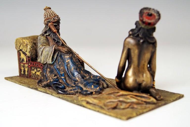Stunning Bronze Figurine Group:  King David and Bathsheba  ORIGIN OF MANUFACTORY:   VIENNA / Franz Bergmann Vienna Bronze Foundry DATING:    manufactured circa  1905 MATERIAL:  solid bronze  TECHNIQUE OF MANUFACTURE:   bronze / casting technique /