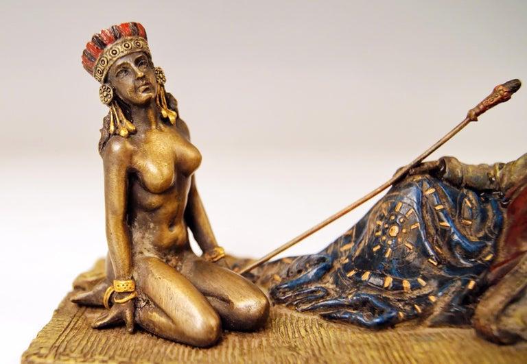 Cold-Painted  Vienna Bergman Bronze Figurines King David and Bathsheba Vintage made c.1905 For Sale