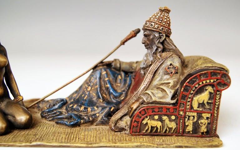 Vienna Bergman Bronze Figurines King David and Bathsheba Vintage made c.1905 In Good Condition For Sale In Vienna, AT