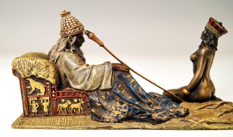Vienna Bergman Bronze Figurines King David and Bathsheba Vintage made c.1905 1