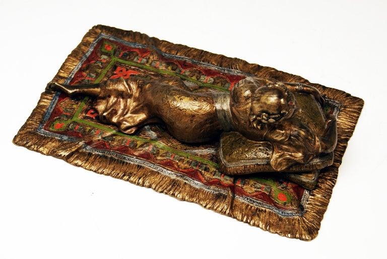 Other Vienna Bergman Bronze Oriental Lady Lying on Carpet, circa 1900