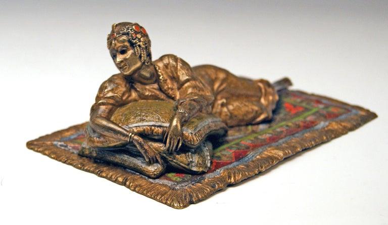 Austrian Vienna Bergman Bronze Oriental Lady Lying on Carpet, circa 1900