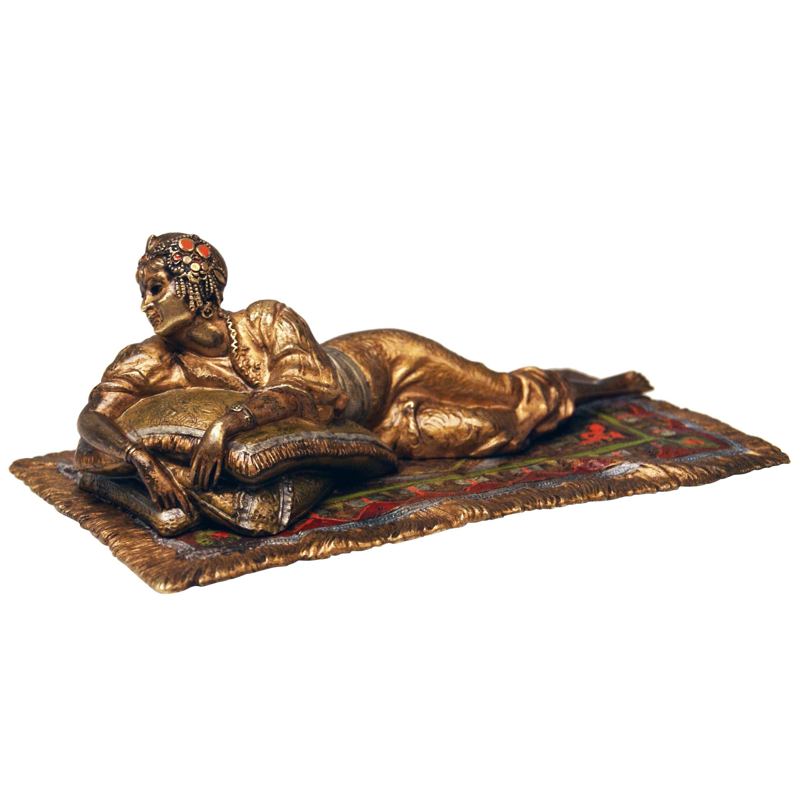 Vienna Bergman Bronze Oriental Lady Lying on Carpet, circa 1900