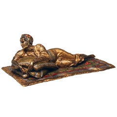 Vienna Bergman Bronze Oriental Lady Lying on Carpet, circa 1900