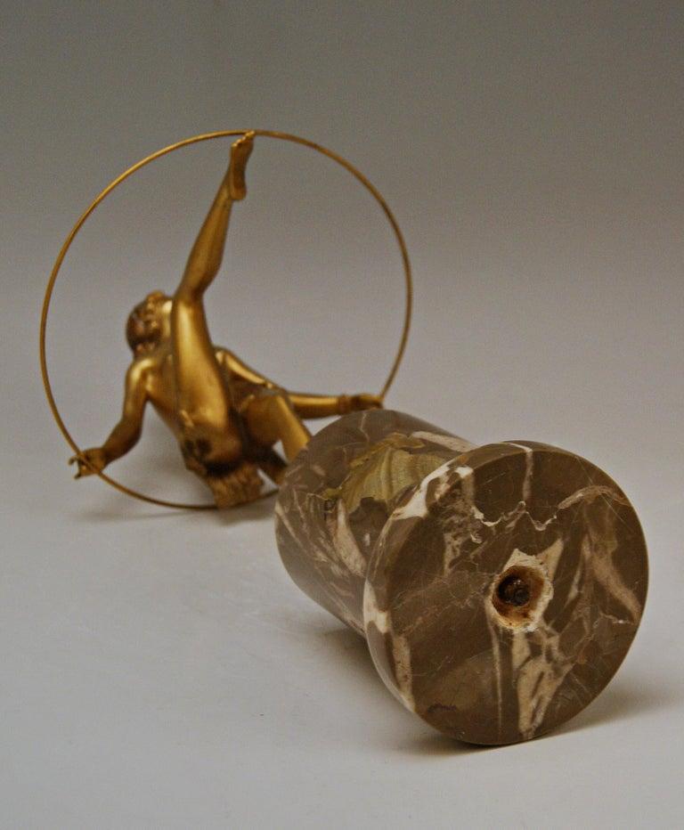 Bruno Zach Vienna Bronze Austria Semi-Nude Lady with Hoop Bergmann circa 1930  For Sale 3