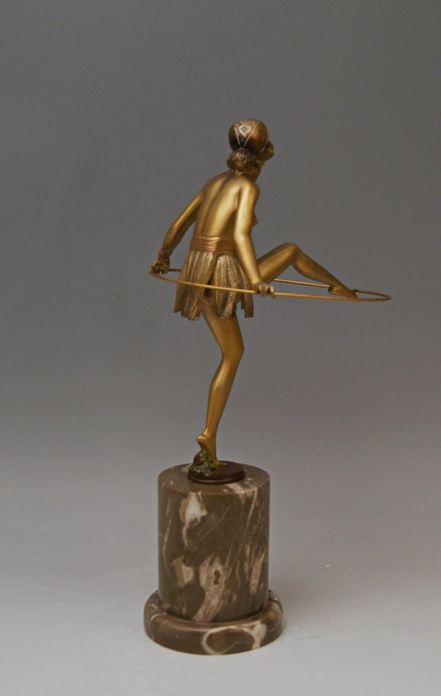Art Deco Bruno Zach Vienna Bronze Austria Semi-Nude Lady with Hoop Bergmann circa 1930  For Sale