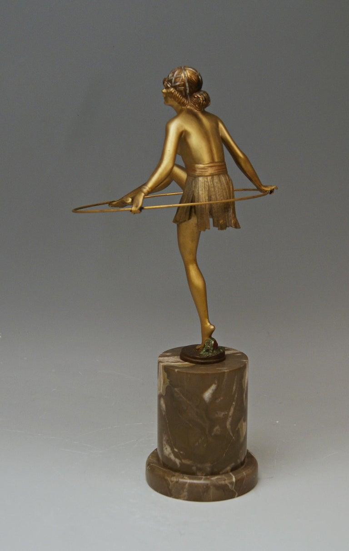 Austrian Bruno Zach Vienna Bronze Austria Semi-Nude Lady with Hoop Bergmann circa 1930  For Sale