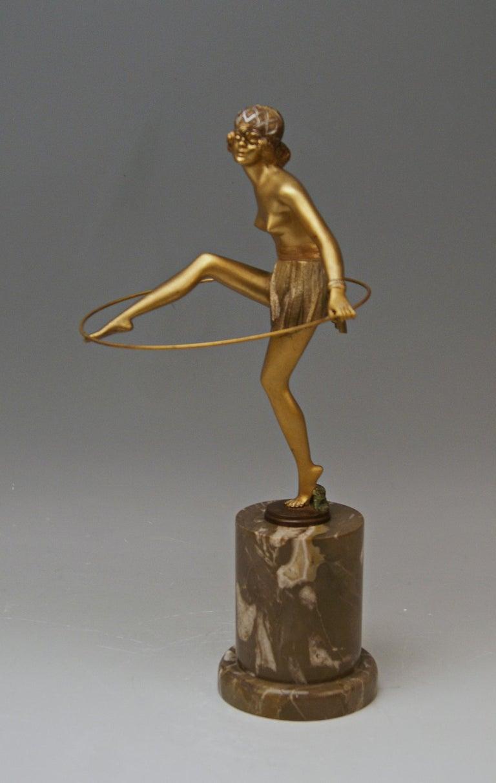 Gilt Bruno Zach Vienna Bronze Austria Semi-Nude Lady with Hoop Bergmann circa 1930  For Sale