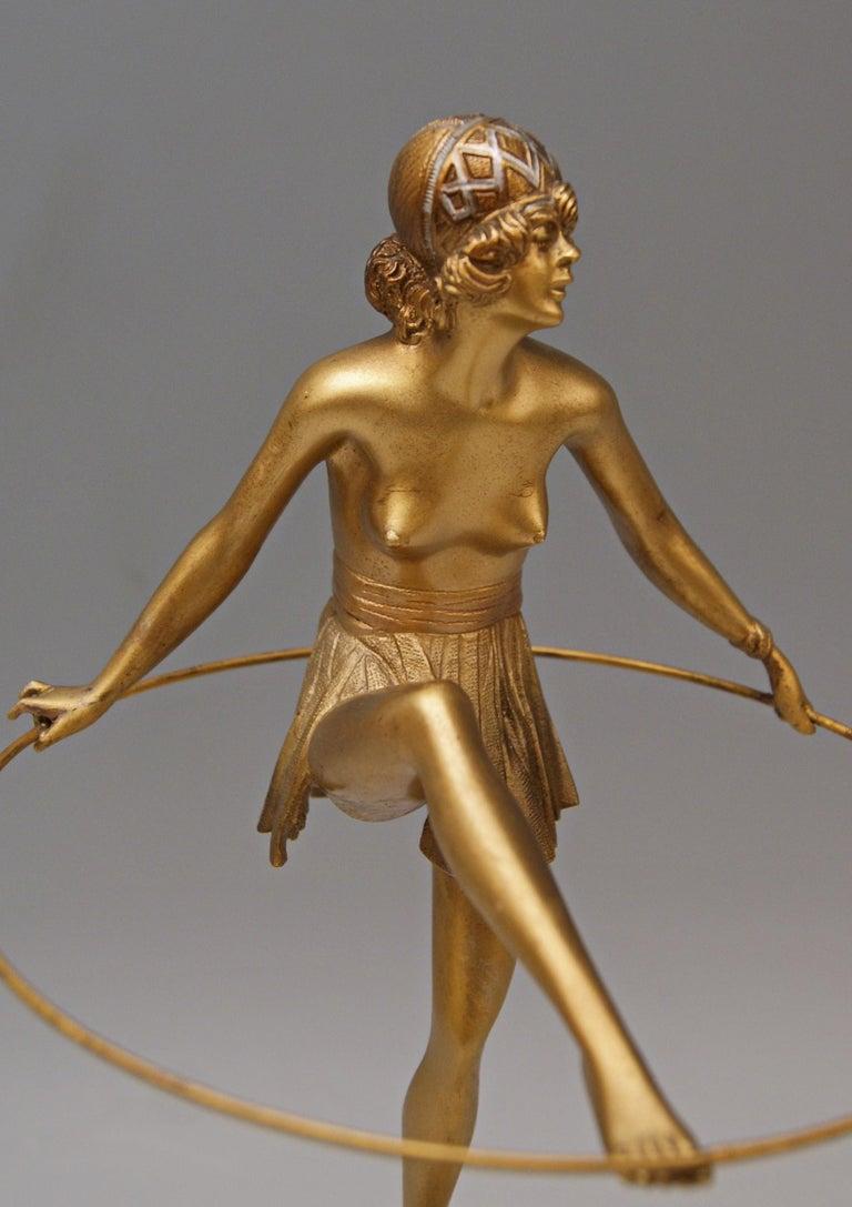 Early 20th Century Bruno Zach Vienna Bronze Austria Semi-Nude Lady with Hoop Bergmann circa 1930  For Sale