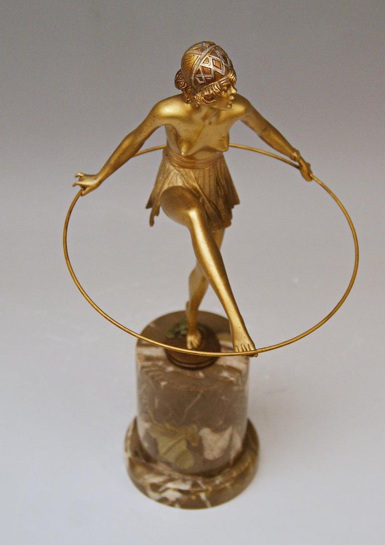 Bruno Zach Vienna Bronze Austria Semi-Nude Lady with Hoop Bergmann circa 1930  For Sale 1