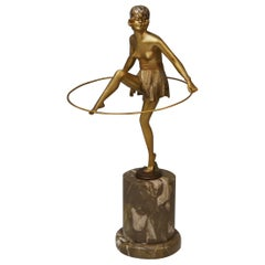 Vienna Bergmann Bronze Semi-Nude Lady with Hoop Bruno Zach Gilt Bronze