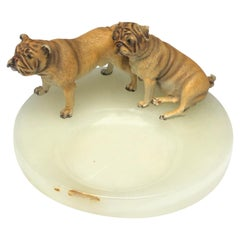 Vienna Bronze Bulldog Pug Dogs Business Card Tray Catchall Vintage, Austria