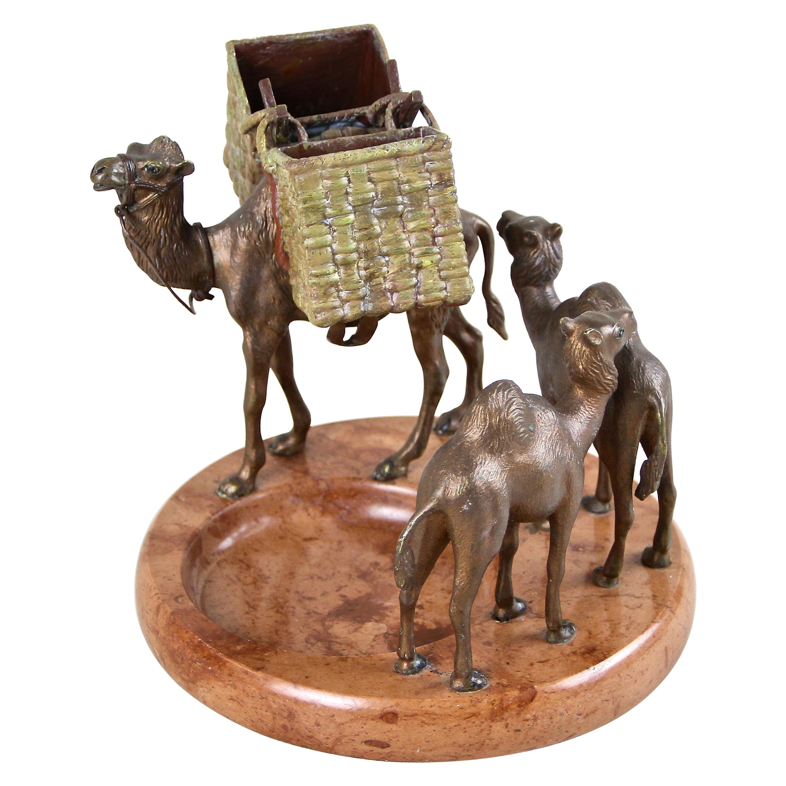 Vienna Bronze Camel Sculptures on Red Marble Bowl, France, circa 1920