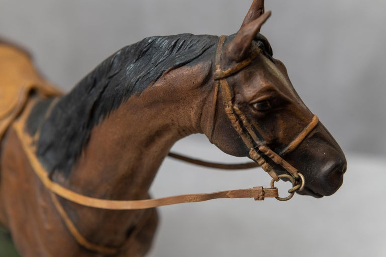 20th Century Vienna Bronze Cold Painted Horse, Signed Kauba, circa 1900 For Sale