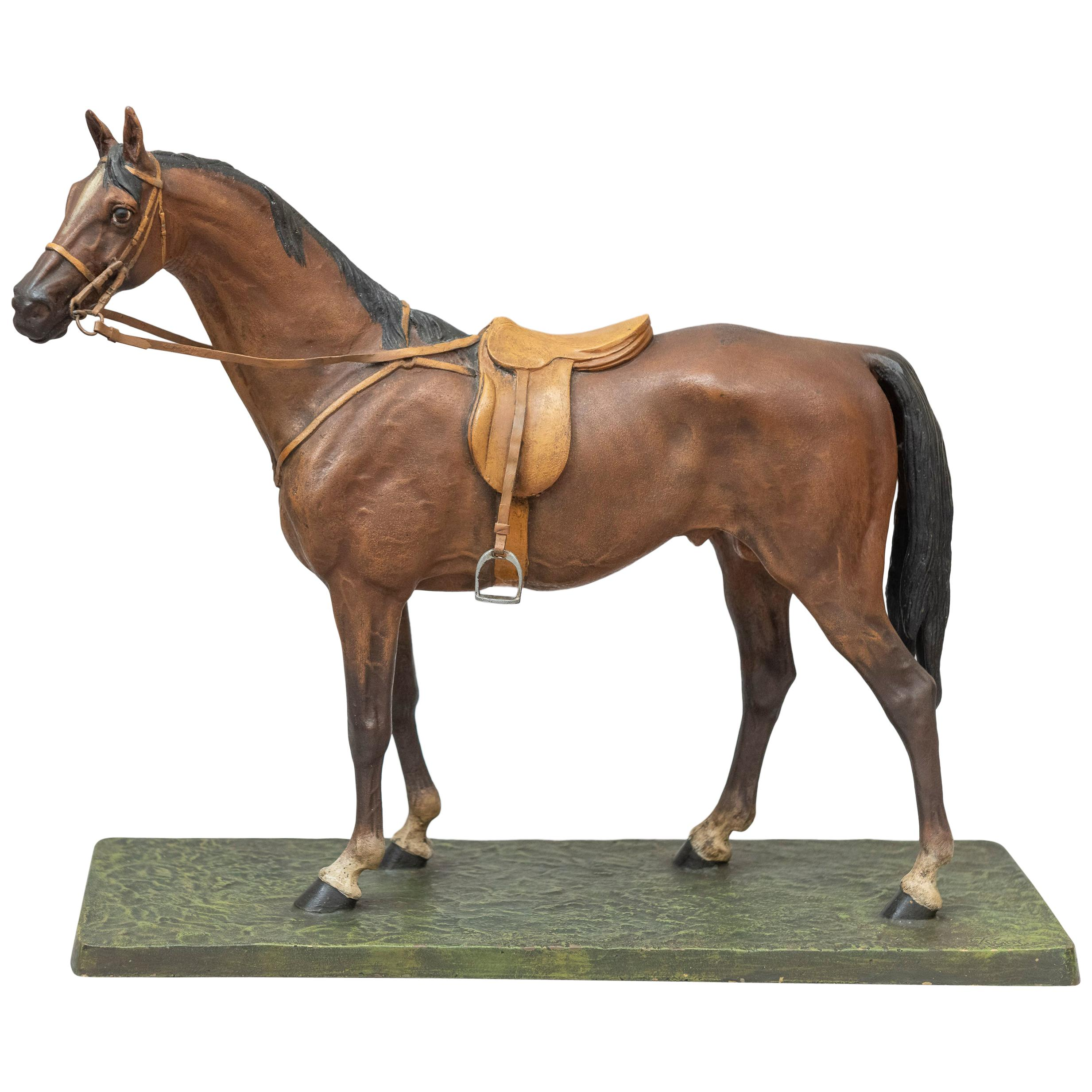 Vienna Bronze Cold Painted Horse, Signed Kauba, circa 1900