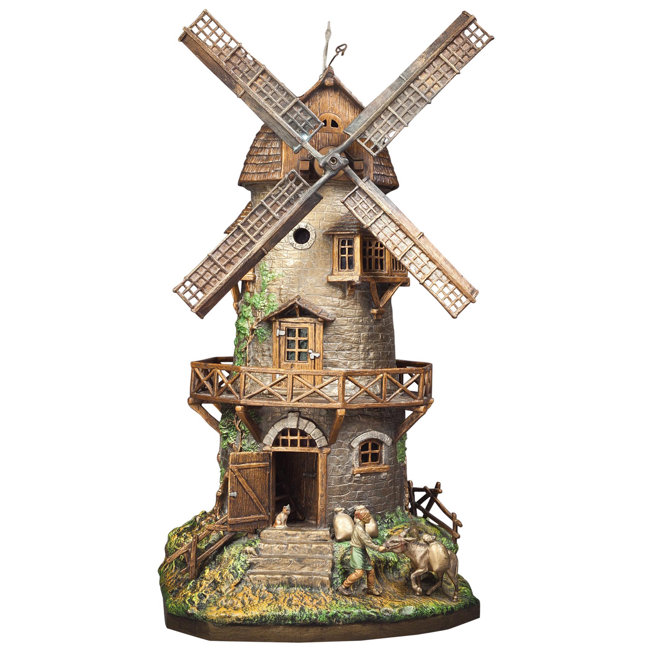 Vienna Bronze Cold Painted Windmill Lamp, Franz Bergman, circa 1900