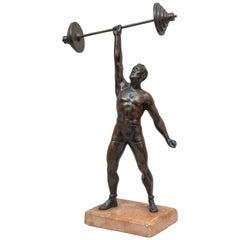 Vienna Bronze Figure of a Weightlifter, circa 1920