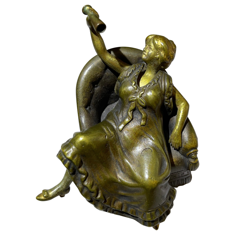 Vienna Bronze Girl in Chair w/ Movable Skirt, Bruno Zach, ca. 1920's