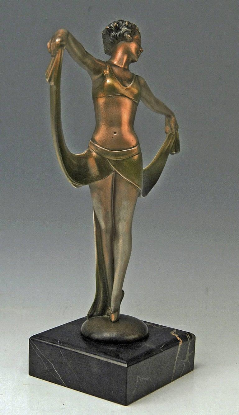 Art Deco Vienna Bronze Lady Dancer Josef Lorenzl Marble Base, circa 1925 For Sale