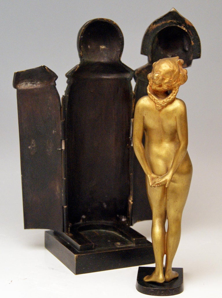 Austrian Vienna Bronze Lady Nude in Sarcophagus by Carl Kauba Vintage Made, circa 1900 For Sale