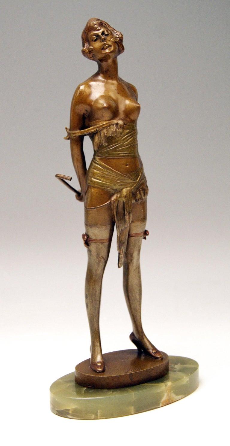 Vienna Bronze Semi-Nude Lady Underwear Riding Crop Bruno Zach, Circa 1925 At 1Stdibs-2651
