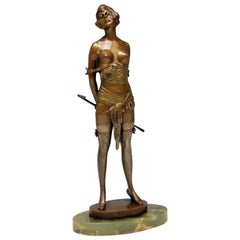 Vienna Bronze Semi-Nude Lady Underwear Riding Crop Bruno Zach, circa 1925