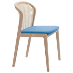 Vienna Chair by Colé, Modern Design in Wood and Straw, Azure Upholstered Seat