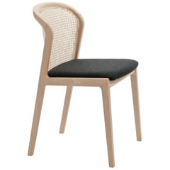 Vienna Chair by Colé, Modern Design in Wood and Straw, Black Upholstered Seat