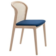 Vienna Chair by Colé, Modern Design in Wood and Straw, Blue Upholstered Seat