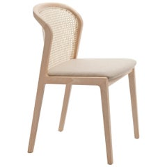 Vienna Chair, in Beach Wood and Straw, Beige Full Grain Leather Padded Seat