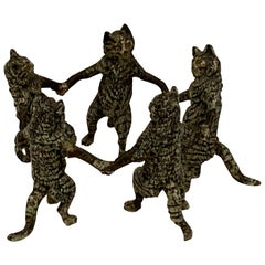 Vienna Cold Painted Bronze Dancing Cats, Attributed to Bergman