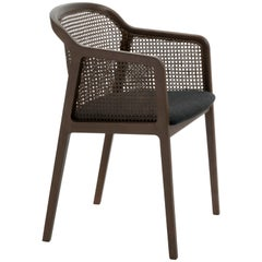 Vienna, Contemporary Armchair by Colé, Walnut, Straw, Black Upholstered Seat