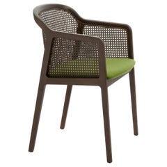 Vienna, Contemporary Armchair by Colé, Walnut, Straw, Green Upholstered Seat