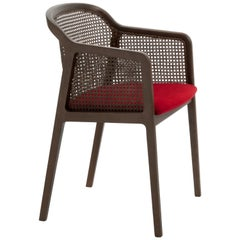 Vienna, Contemporary Armchair by Colé, Walnut, Straw, Red Velvet Seat