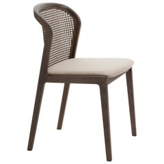 Vienna, Chair Contemporary Design in Walnut and Straw, Beige Upholstered Seat