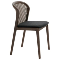Vienna Chair in Walnut and Straw, Black Felt Upholstered Seat. Made in Italy