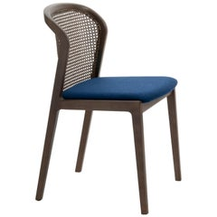 Vienna Chair Contemporary Design in Walnut and Straw, Blue Felt Upholstered Seat