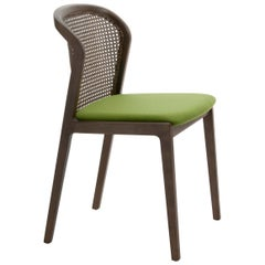 Vienna Chair in Walnut and Straw, Green Felt Upholstered Seat. Made in Italy