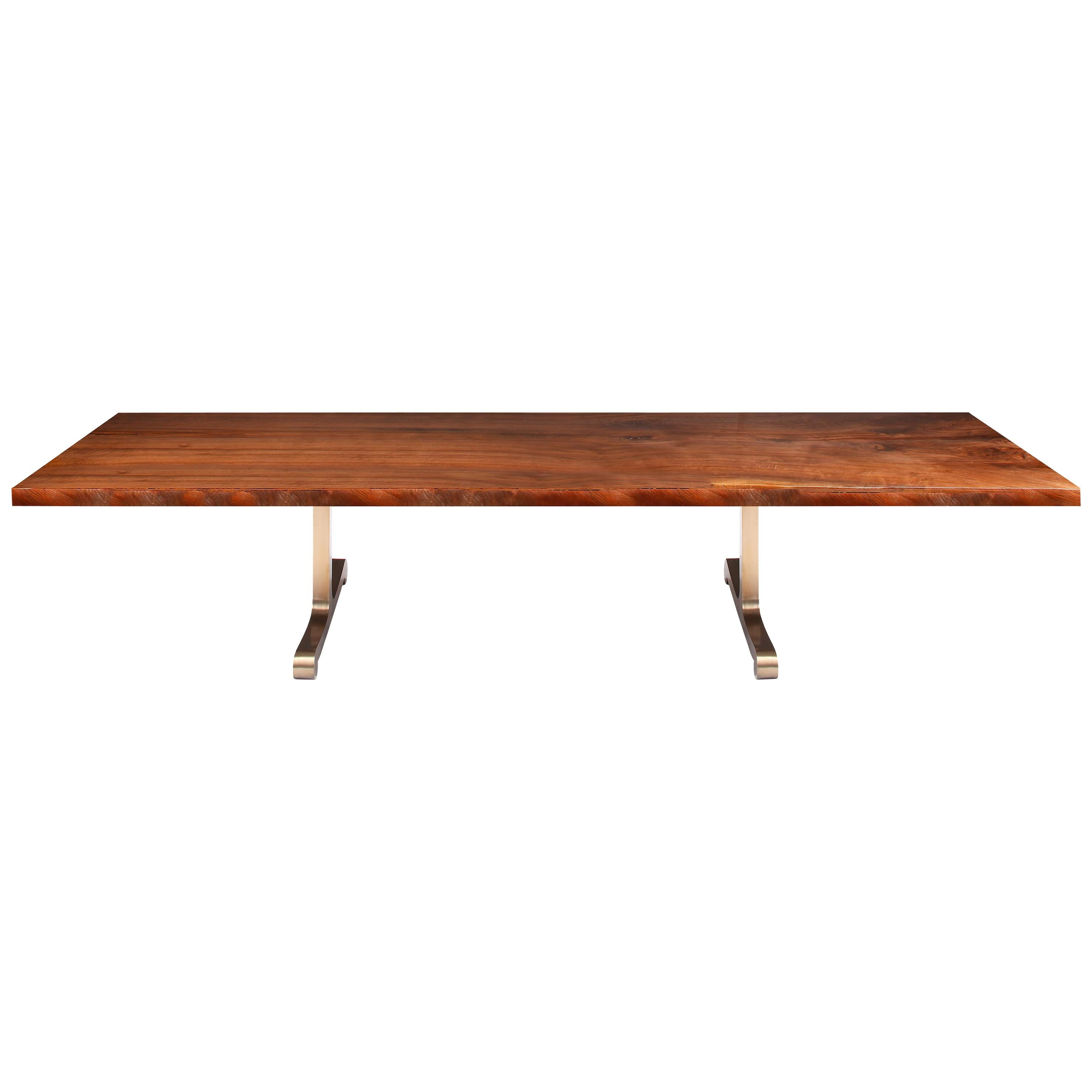 """""""Vienna"""" Dining Table in Claro Walnut and Polished Bronze by Studio Roeper"""