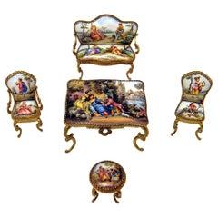 Vienna Enamel Brass Living Room Furniture En Miniature Bench Stools Table