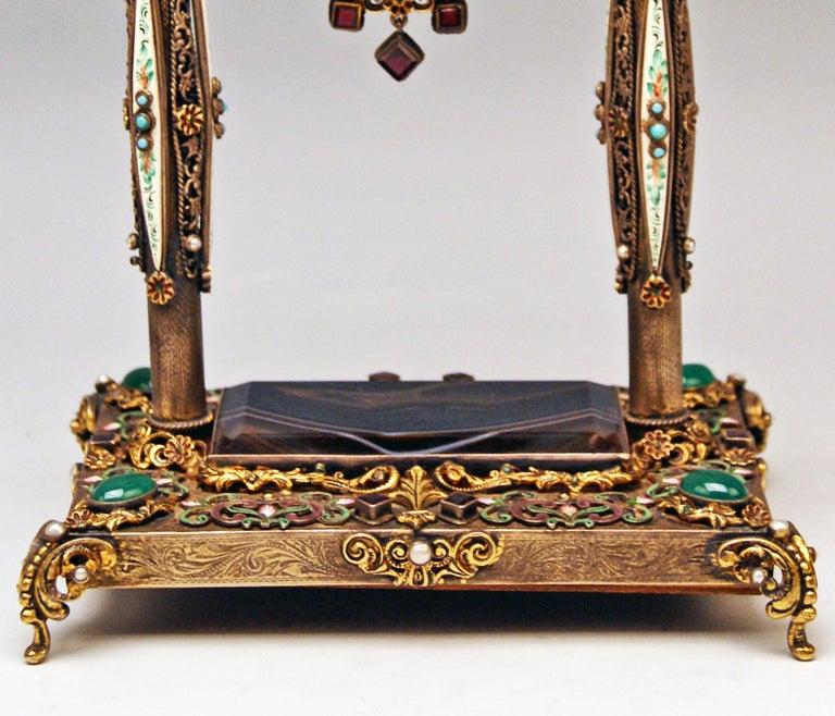 Victorian Vienna Enamel Table Clock Silver Nacre Enamel Onyx Semiprecious Stones For Sale