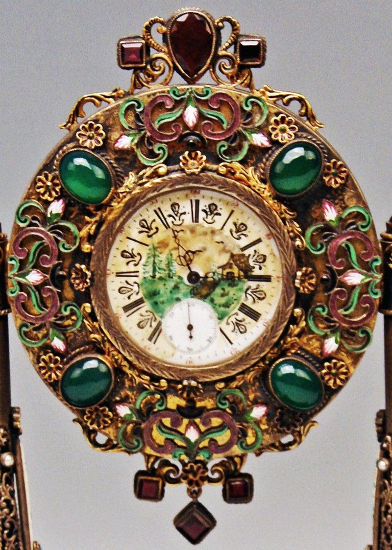 Austrian Vienna Enamel Table Clock Silver Nacre Enamel Onyx Semiprecious Stones For Sale