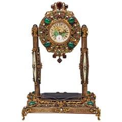 Vienna Enamel Table Clock Silver Nacre Enamel Onyx Semiprecious Stones