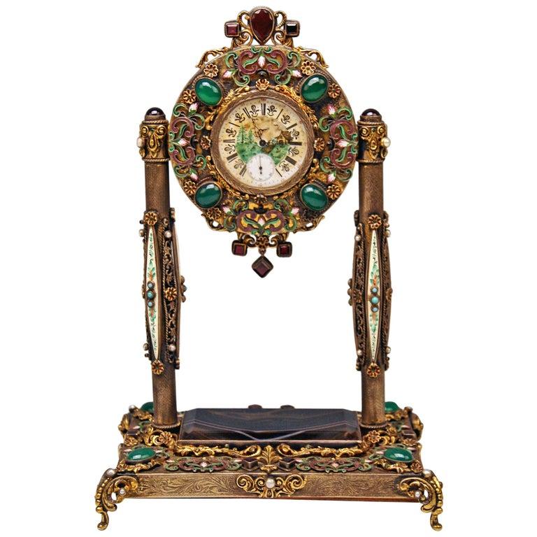 Vienna Enamel Table Clock Silver Nacre Enamel Onyx Semiprecious Stones For Sale